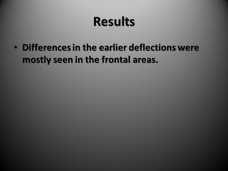 Results Differences in the earlier deflections were mostly seen in the frontal areas. Differences in the earlier deflections were mostly seen in the f