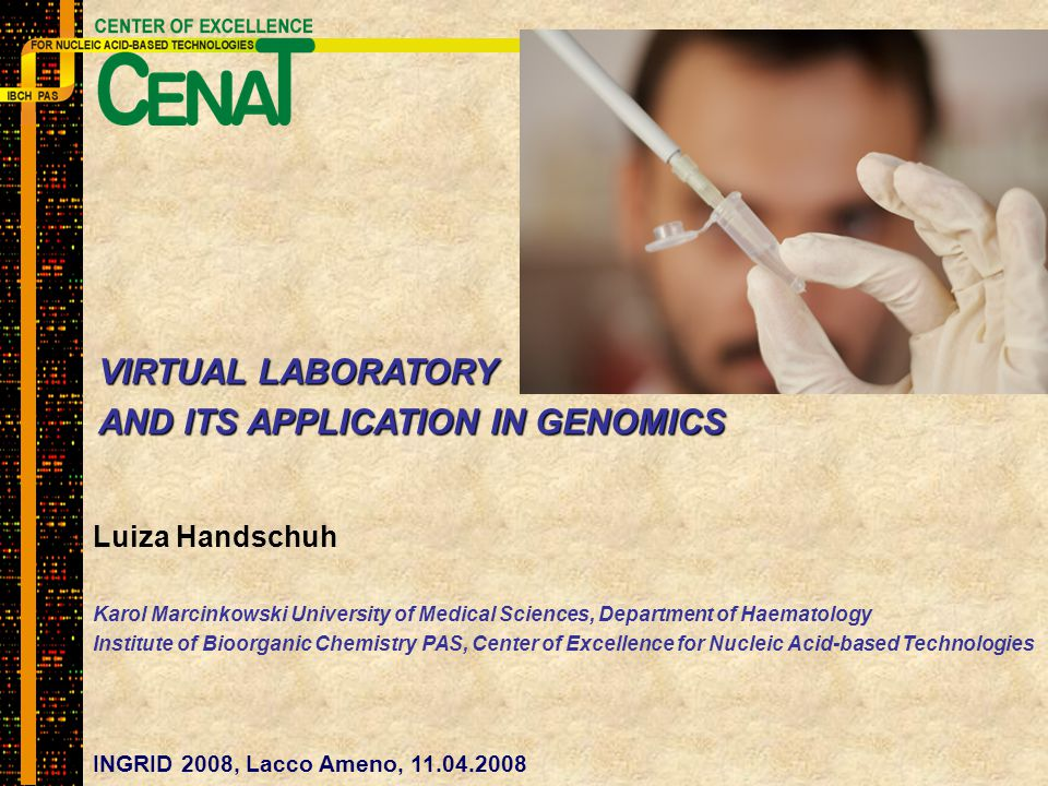 Luiza Handschuh Karol Marcinkowski University of Medical Sciences, Department of Haematology Institute of Bioorganic Chemistry PAS, Center of Excellence for Nucleic Acid-based Technologies INGRID 2008, Lacco Ameno, 11.04.2008 VIRTUAL LABORATORY AND ITS APPLICATION IN GENOMICS