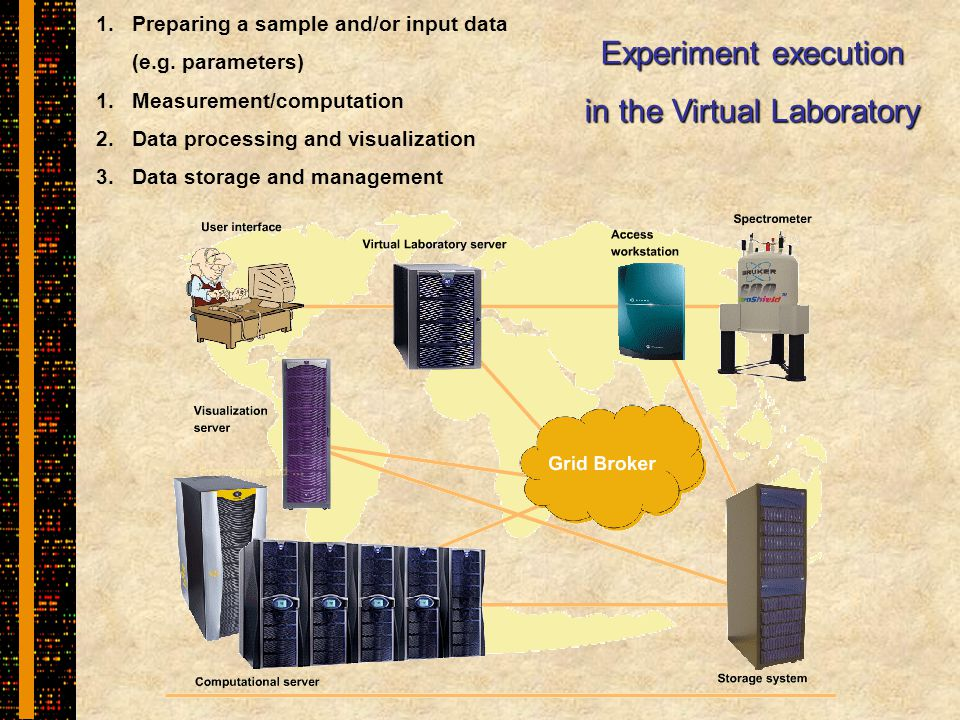 Experiment execution in the Virtual Laboratory 1.Preparing a sample and/or input data (e.g.