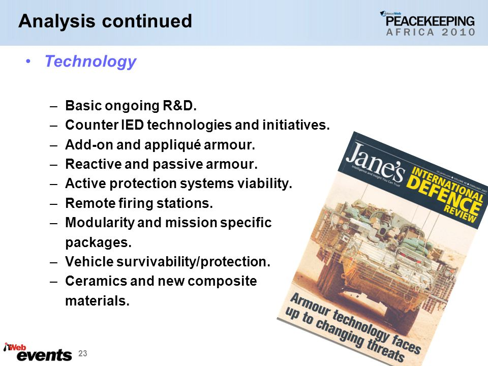 23 Technology –Basic ongoing R&D.–Counter IED technologies and initiatives.