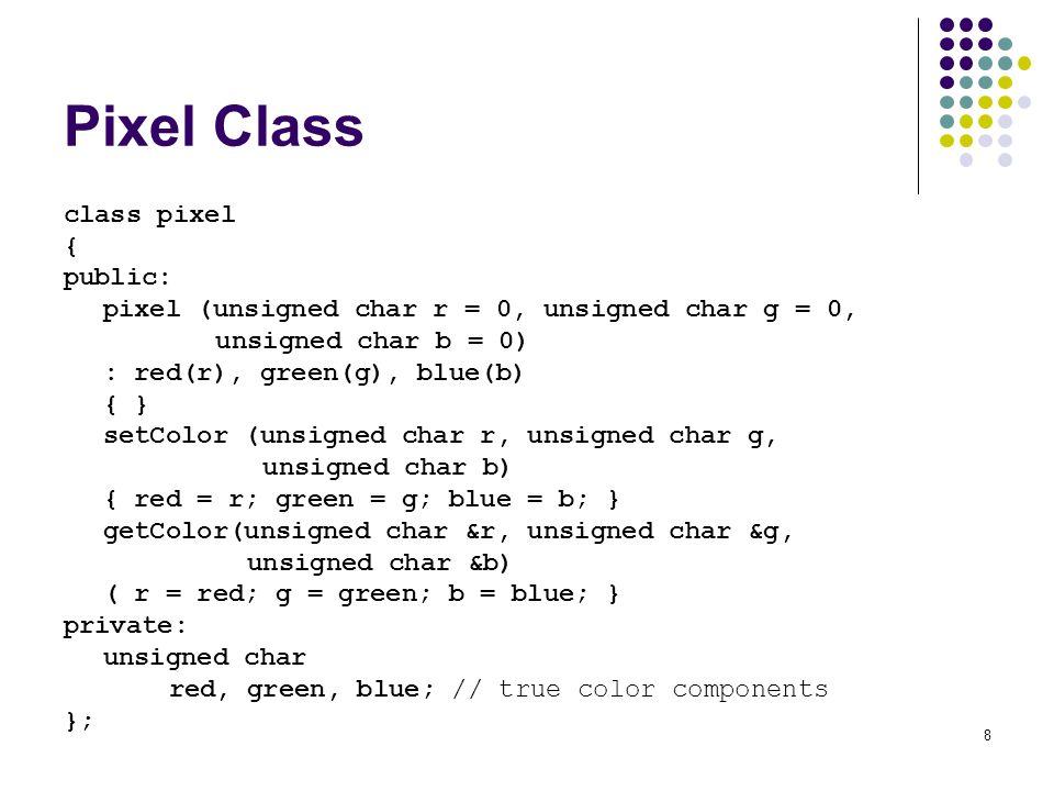 8 Pixel Class class pixel { public: pixel (unsigned char r = 0, unsigned char g = 0, unsigned char b = 0) : red(r), green(g), blue(b) { } setColor (un