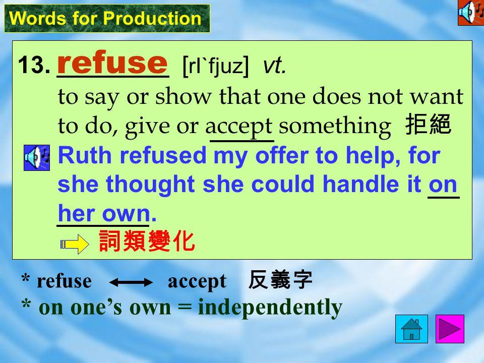 Words for Production 13.refuse [ rI`fjuz ] vt.