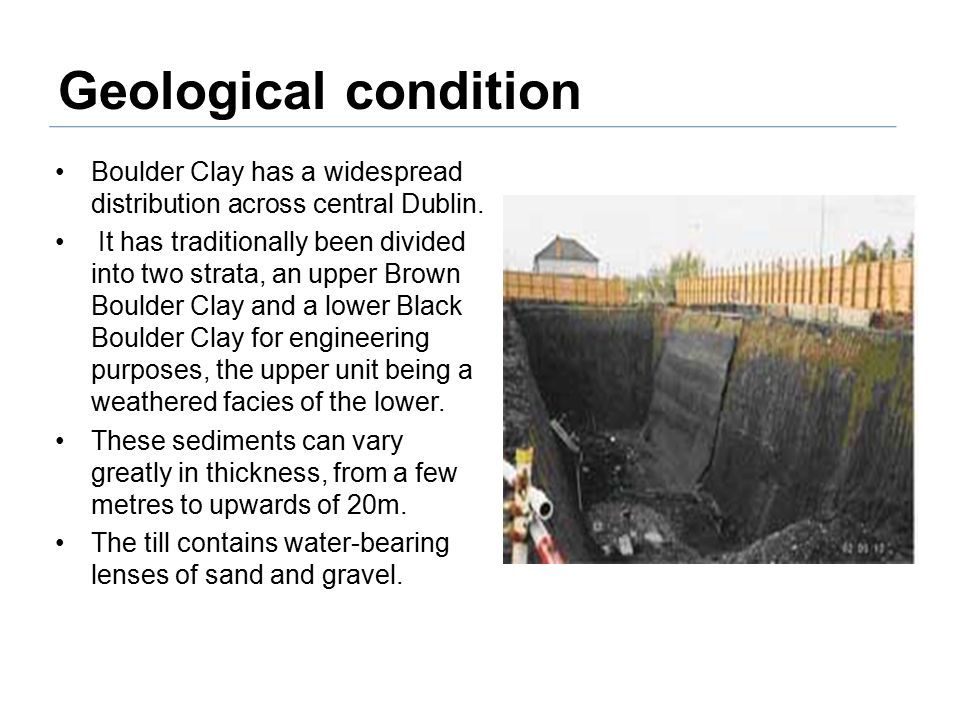 Geological condition Boulder Clay has a widespread distribution across central Dublin.
