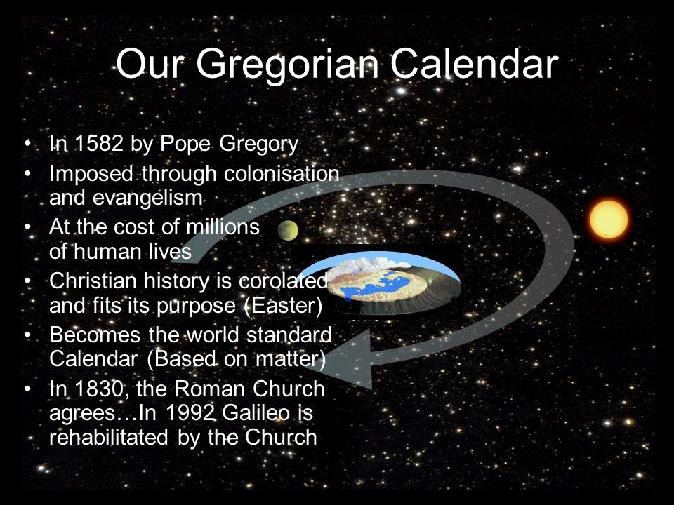 Our Gregorian Calendar In 1582 by Pope Gregory Imposed through colonisation and evangelism At the cost of millions of human lives Christian history is