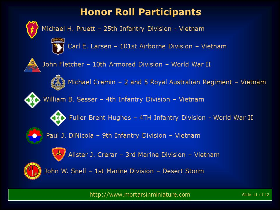 http://www.mortarsinminiature.com Michael H. Pruett – 25th Infantry Division - Vietnam Fuller Brent Hughes – 4TH Infantry Division - World War II Will