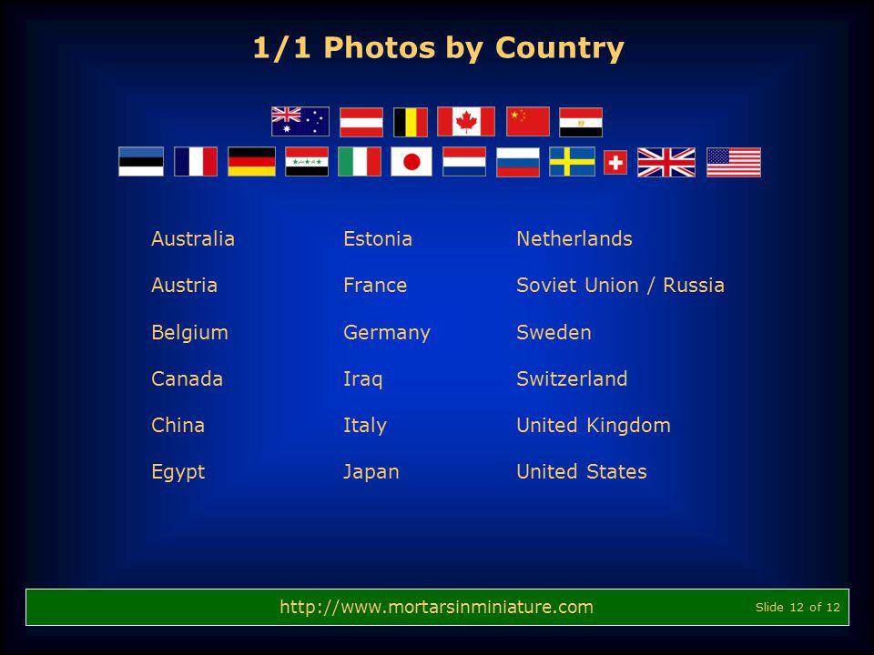 http://www.mortarsinminiature.com 1/1 Photos by Country Estonia France Germany Iraq Italy Japan Netherlands Soviet Union / Russia Sweden Switzerland U