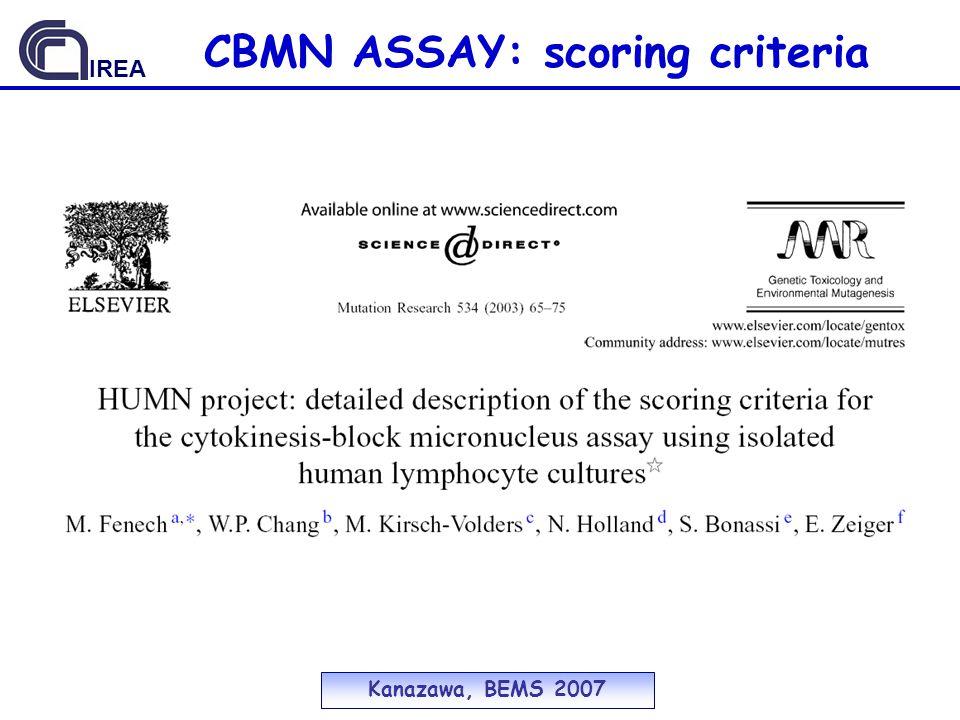 CBMN ASSAY: scoring criteria Kanazawa, BEMS 2007 IREA