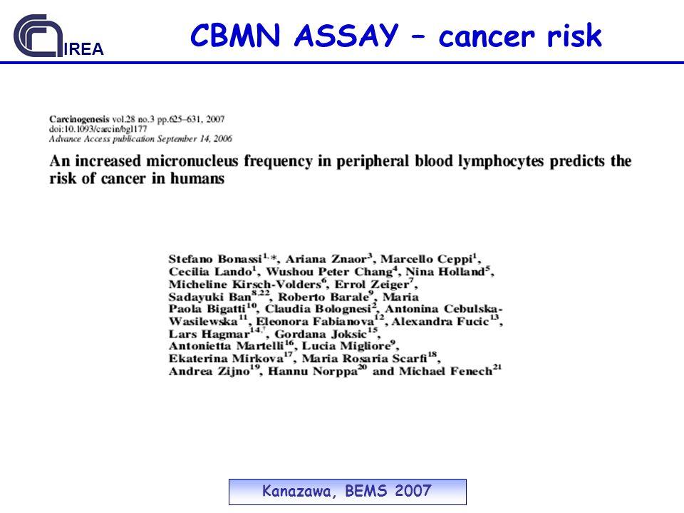 Kanazawa, BEMS 2007 IREA CBMN ASSAY – cancer risk