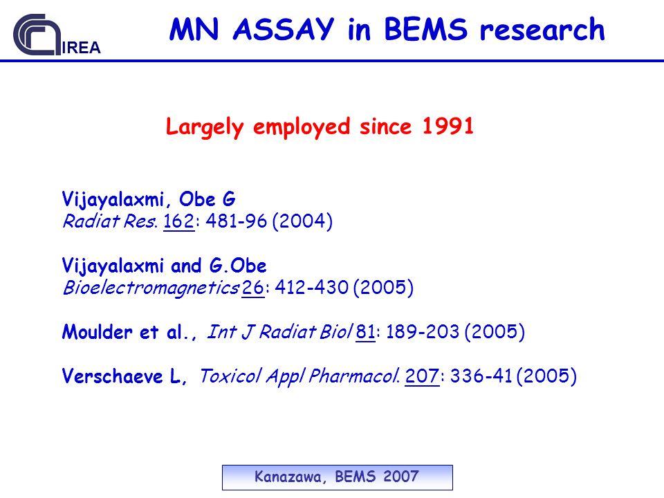 Largely employed since 1991 Vijayalaxmi, Obe G Radiat Res.
