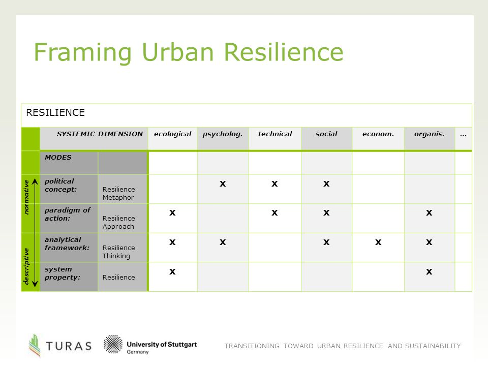 TRANSITIONING TOWARD URBAN RESILIENCE AND SUSTAINABILITY Framing Urban Resilience RESILIENCE SYSTEMIC DIMENSIONecologicalpsycholog.technicalsocialeconom.organis.… MODES political concept: Resilience Metaphor xxx paradigm of action: Resilience Approach xxxx analytical framework: Resilience Thinking xxxxx system property: Resilience xx descriptive normative