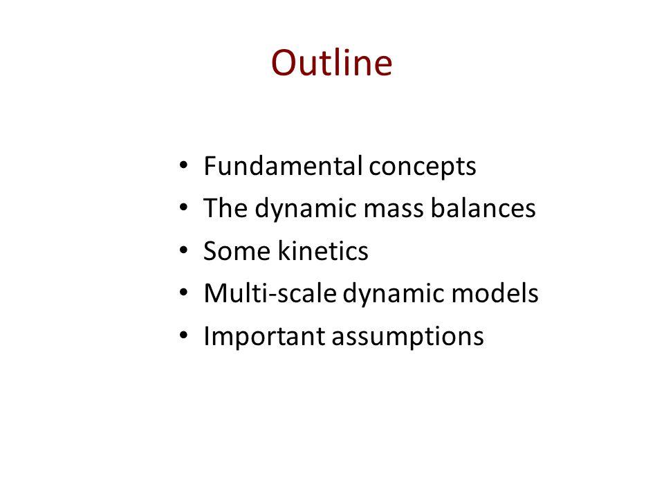 Outline Fundamental concepts The dynamic mass balances Some kinetics Multi-scale dynamic models Important assumptions