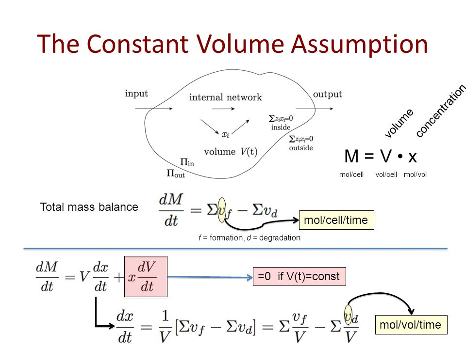The Constant Volume Assumption M = V x mol/cellvol/cellmol/vol volume concentration Total mass balance mol/cell/time f = formation, d = degradation =0 if V(t)=const mol/vol/time
