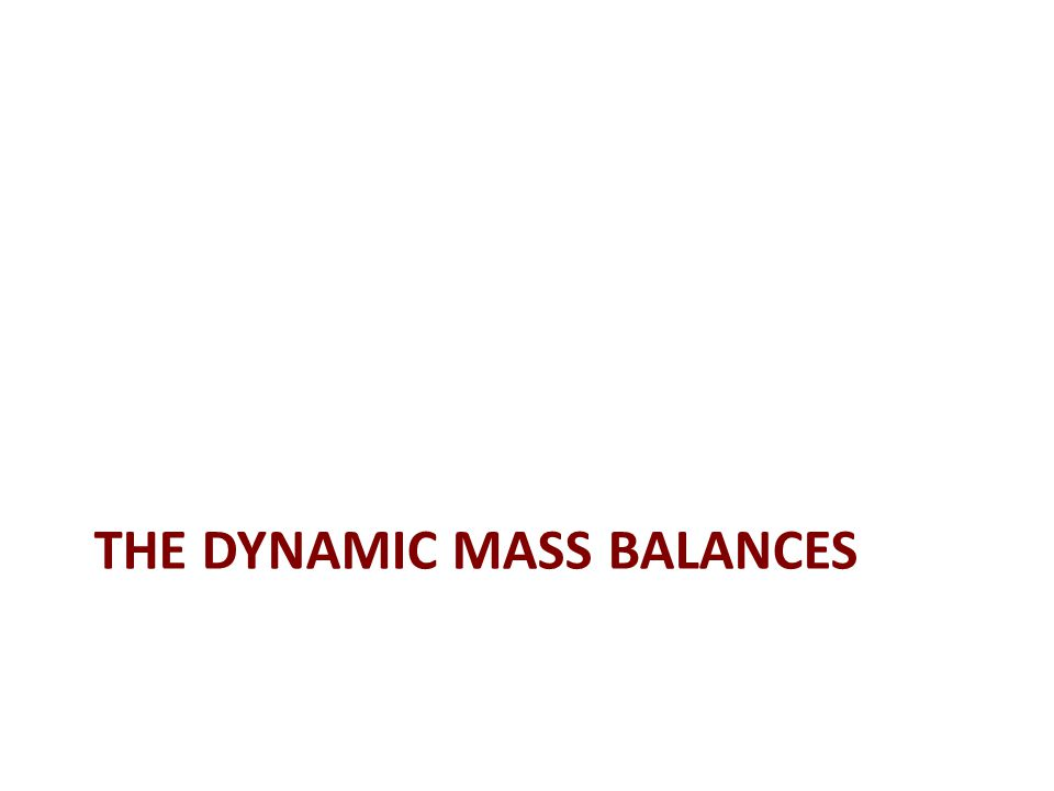 THE DYNAMIC MASS BALANCES