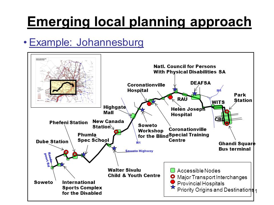 11 Emerging local planning approach Figure 4: Example: Soweto-Johannesburg CBD accessible corridor International Sports Complex for the Disabled Dube Station Phefeni Station Phumla Spec School Walter Sisulu Child & Youth Centre New Canada Station Highgate Mall Soweto Workshop for the Blind Coronationville Hospital Coronationville Special Training Centre Helen Joseph Hospital Natl.