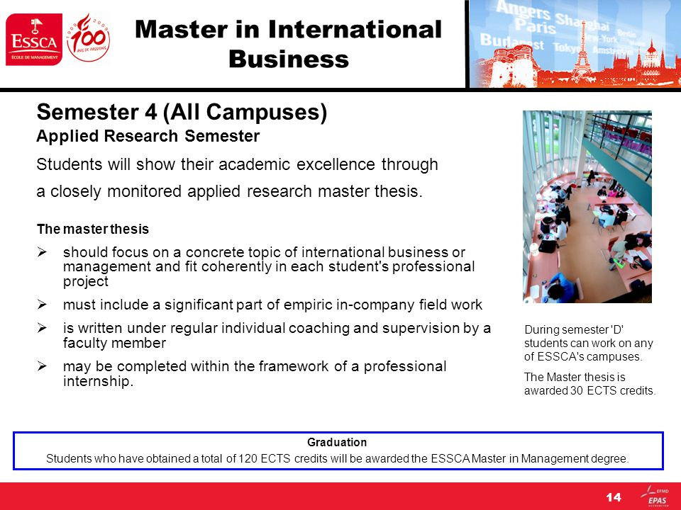 14 Master in International Business Semester 4 (All Campuses) Applied Research Semester Students will show their academic excellence through a closely monitored applied research master thesis.