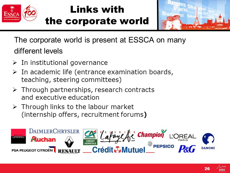 26 Links with the corporate world The corporate world is present at ESSCA on many different levels  In institutional governance  In academic life (entrance examination boards, teaching, steering committees)  Through partnerships, research contracts and executive education  Through links to the labour market (internship offers, recruitment forums)