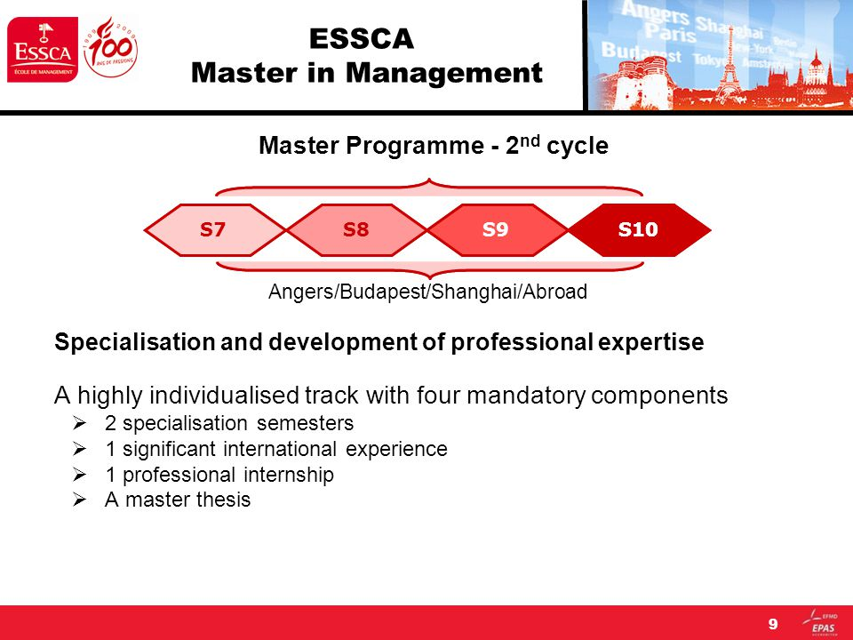 9 ESSCA Master in Management Master Programme - 2 nd cycle Angers/Budapest/Shanghai/Abroad Specialisation and development of professional expertise A highly individualised track with four mandatory components  2 specialisation semesters  1 significant international experience  1 professional internship  A master thesis S7S8S9S10S7S8S9S10