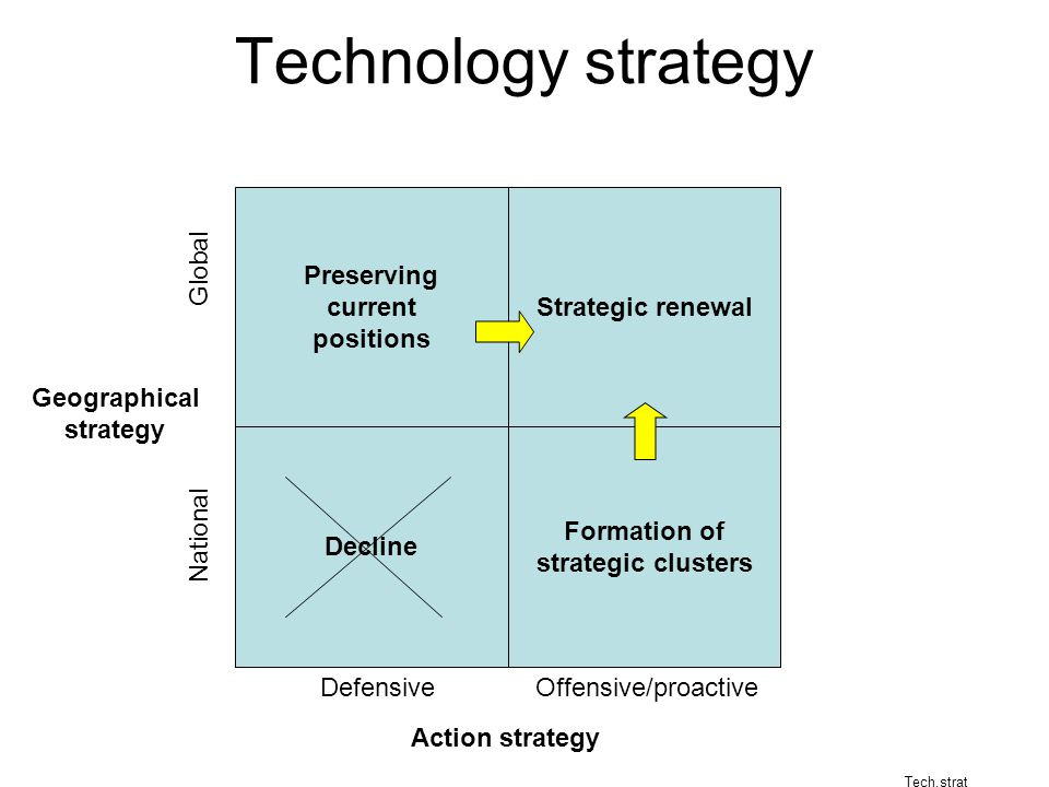Technology strategy Preserving current positions Strategic renewal Decline Formation of strategic clusters Geographical strategy Global National Action strategy Defensive Offensive/proactive Tech.strat