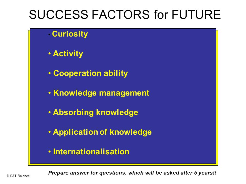 SUCCESS FACTORS for FUTURE Curiosity Activity Cooperation ability Knowledge management Absorbing knowledge Application of knowledge Internationalisation Prepare answer for questions, which will be asked after 5 years!.