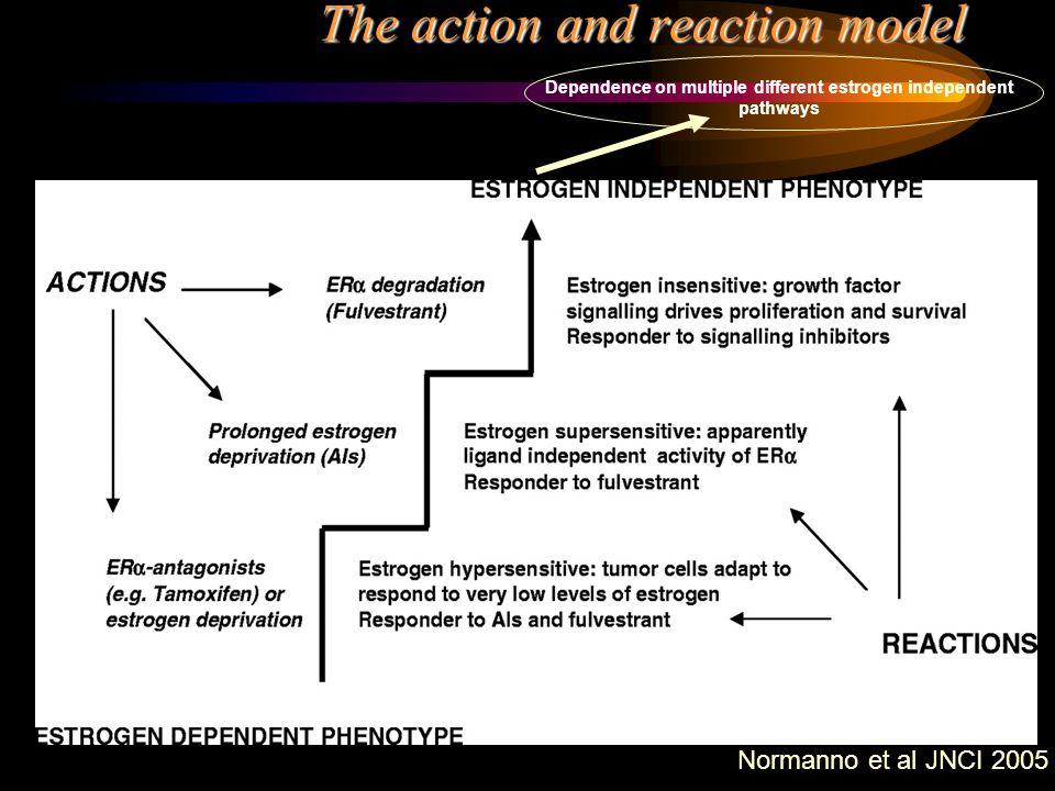 The action and reaction model Normanno et al JNCI 2005 Dependence on multiple different estrogen independent pathways