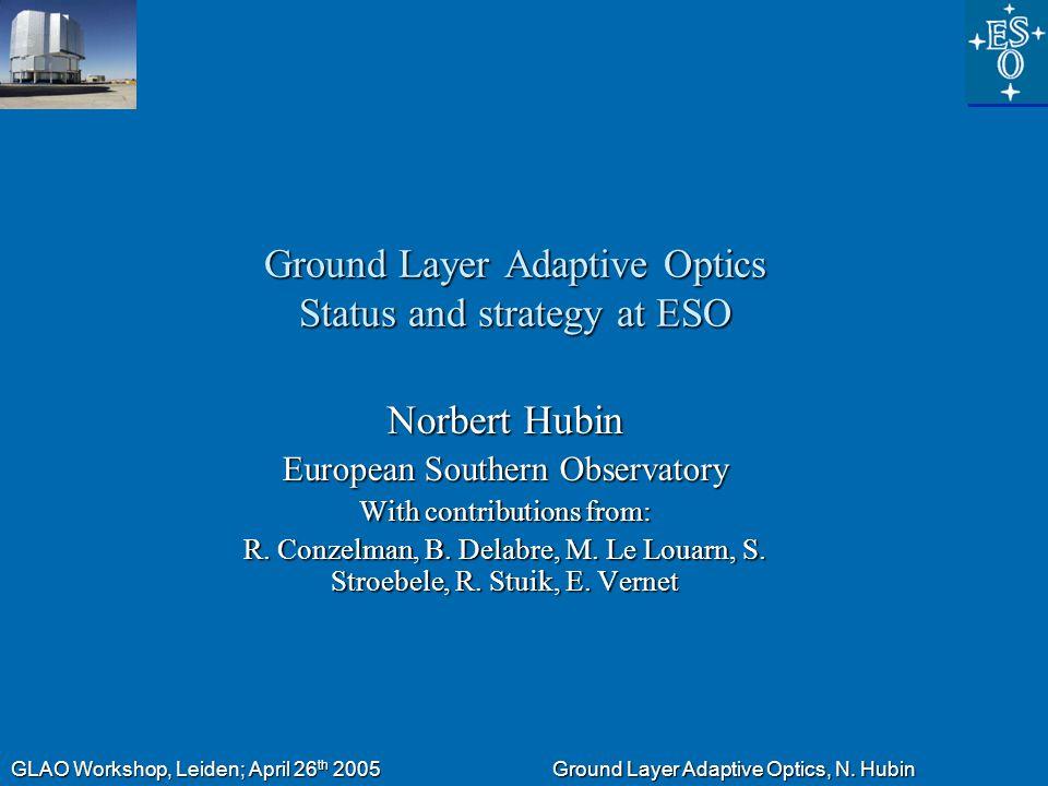 GLAO Workshop, Leiden; April 26 th 2005 Ground Layer Adaptive Optics, N.