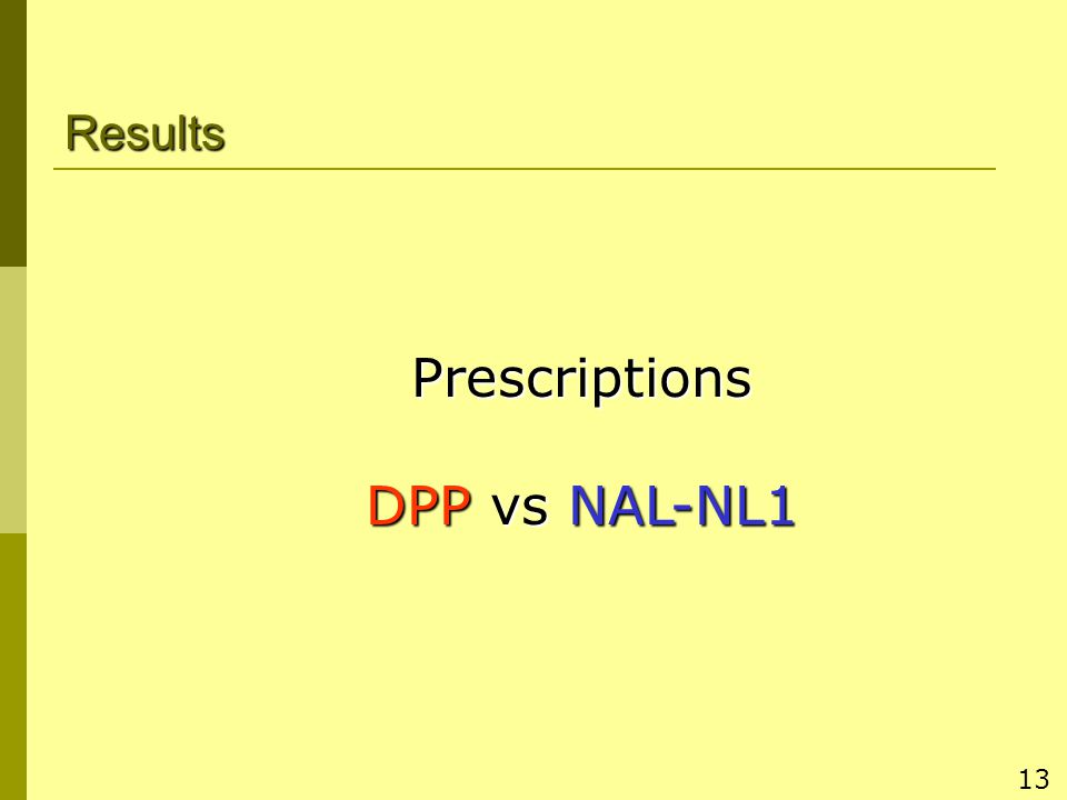 13 Results Prescriptions DPP vs NAL-NL1