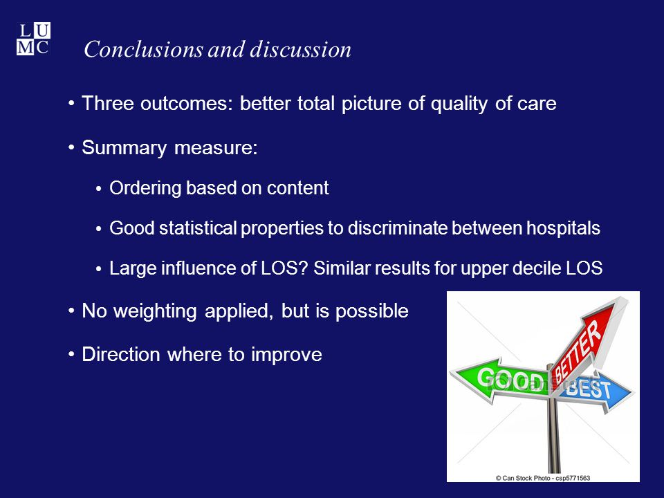 Conclusions and discussion Three outcomes: better total picture of quality of care Summary measure: Ordering based on content Good statistical properties to discriminate between hospitals Large influence of LOS.