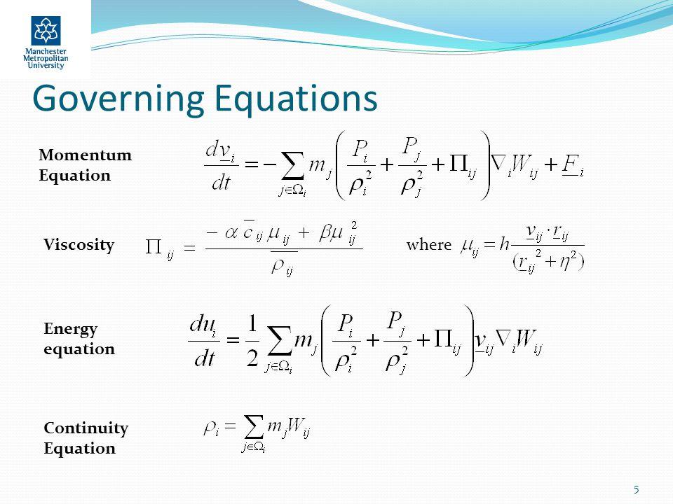 Governing Equations 5 Momentum Equation Viscositywhere Energy equation Continuity Equation