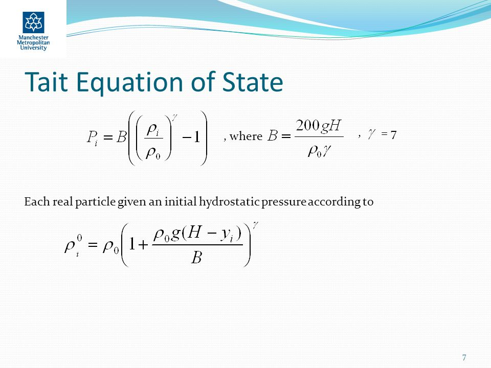 Tait Equation of State 7, where, Each real particle given an initial hydrostatic pressure according to = 7