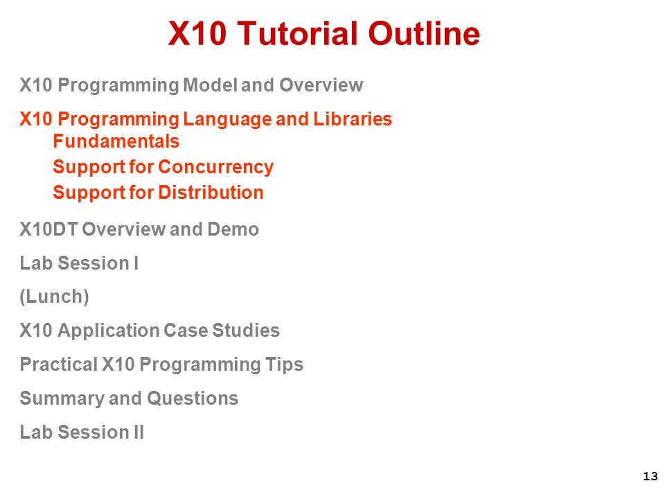13 X10 Tutorial Outline X10 Programming Model and Overview X10 Programming Language and Libraries Fundamentals Support for Concurrency Support for Distribution X10DT Overview and Demo Lab Session I (Lunch) X10 Application Case Studies Practical X10 Programming Tips Summary and Questions Lab Session II