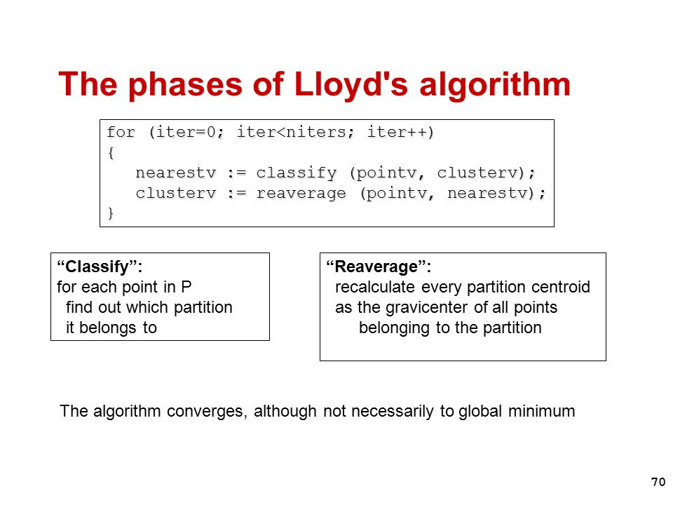 70 The phases of Lloyd s algorithm for (iter=0; iter<niters; iter++) { nearestv := classify (pointv, clusterv); nearestv := classify (pointv, clusterv); clusterv := reaverage (pointv, nearestv); } clusterv := reaverage (pointv, nearestv); } Classify : for each point in P find out which partition it belongs to Reaverage : recalculate every partition centroid as the gravicenter of all points belonging to the partition The algorithm converges, although not necessarily to global minimum