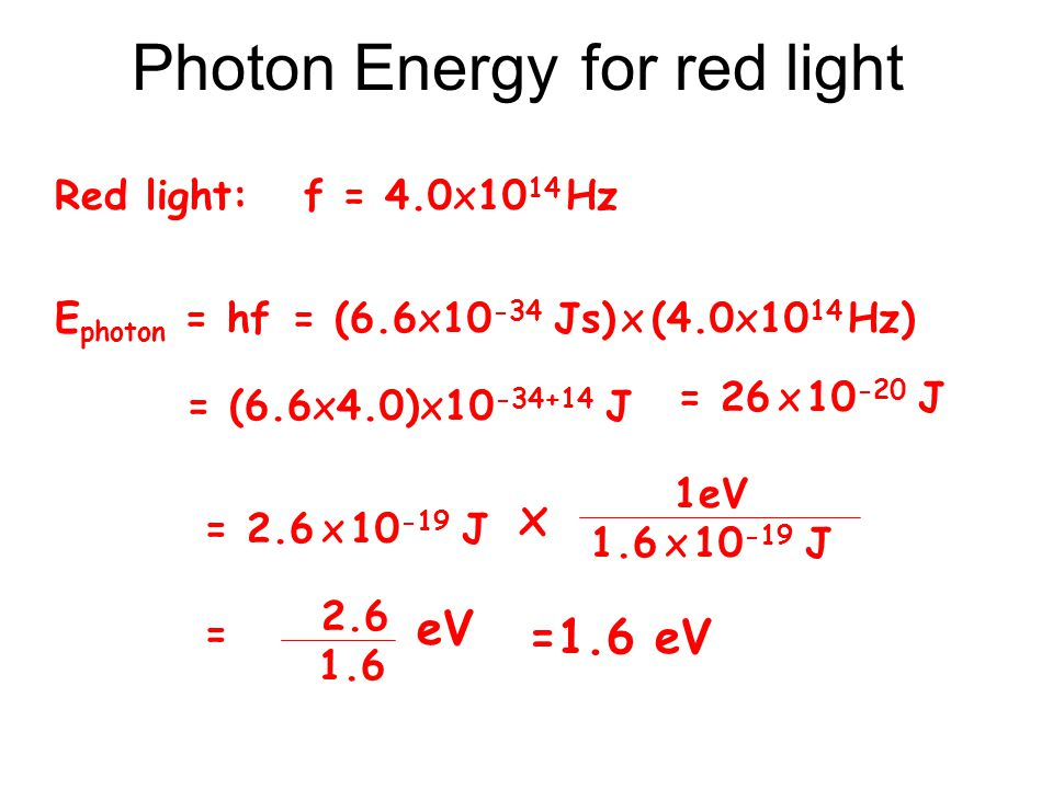 Photon Energy for red light Red light: f = 4.0x10 14 Hz E photon = hf = (6.6x10 -34 Js) x (4.0x10 14 Hz) = (6.6x4.0)x10 -34+14 J = 26 x 10 -20 J = 2.6 x 10 -19 J 1eV 1.6 x 10 -19 J x = 2.6 1.6 eV =1.6 eV