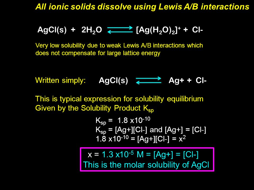 All ionic solids dissolve using Lewis A/B interactions MX(s) + 6H 2 O[M(H 2 O) 6 ] + + X(aq)- M +  :OH 2 e- acceptor  :e- donor Lewis Acid  :Lewis Base