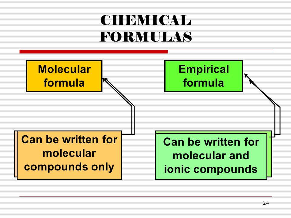 24 CHEMICAL FORMULAS Molecular formula Empirical formula Shows the actual number of atoms in a compound Shows the simplest ratio of atoms in a compoun