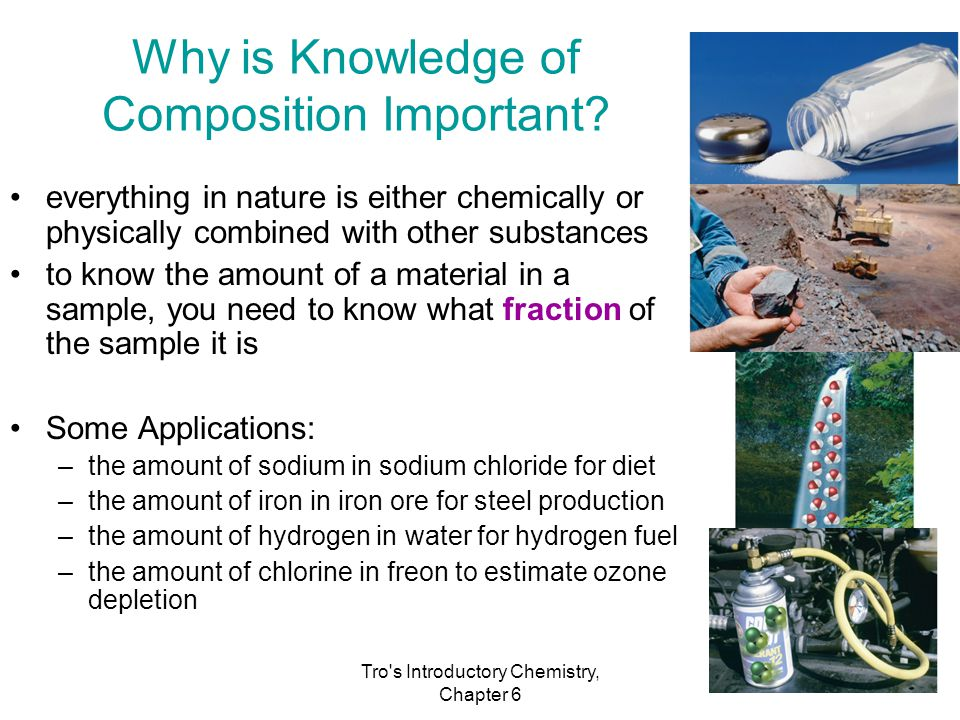 Tro's Introductory Chemistry, Chapter 6 Why is Knowledge of Composition Important? everything in nature is either chemically or physically combined wi