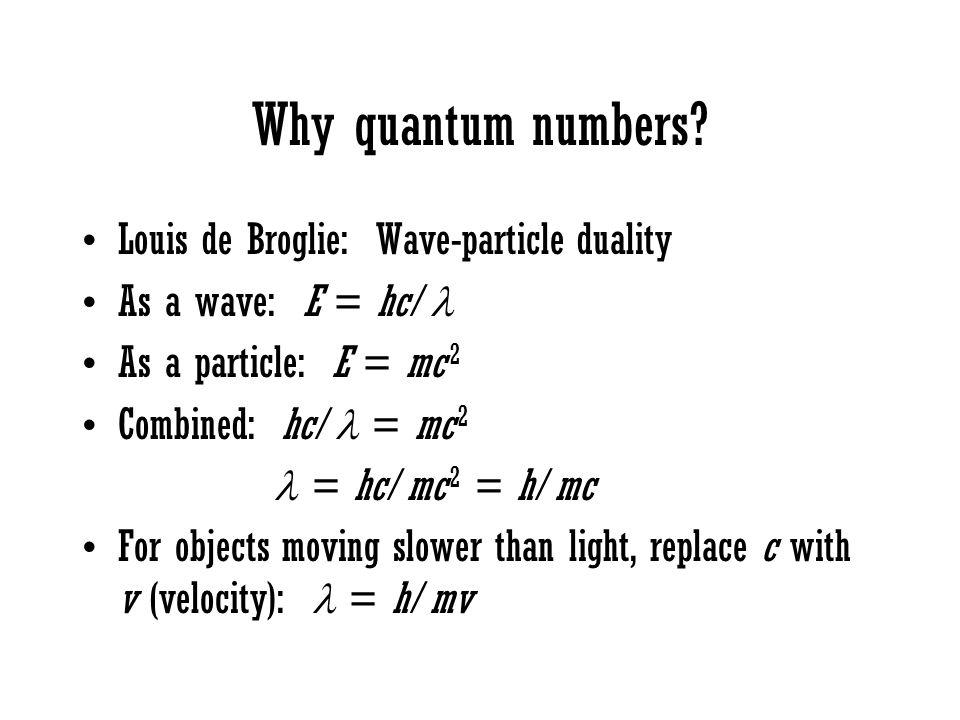 Why quantum numbers? Louis de Broglie: Wave-particle duality As a wave: E = hc/ As a particle: E = mc 2 Combined: hc/ = mc 2 = hc/mc 2 = h/mc For obje