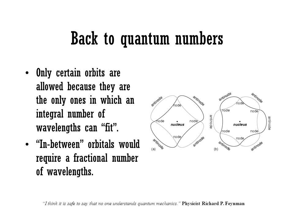 """Back to quantum numbers Only certain orbits are allowed because they are the only ones in which an integral number of wavelengths can """"fit"""". """"In-betwe"""