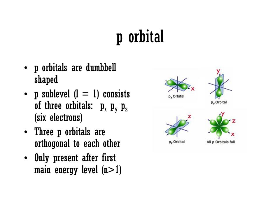 p orbital p orbitals are dumbbell shaped p sublevel (l = 1) consists of three orbitals: p x p y p z (six electrons) Three p orbitals are orthogonal to