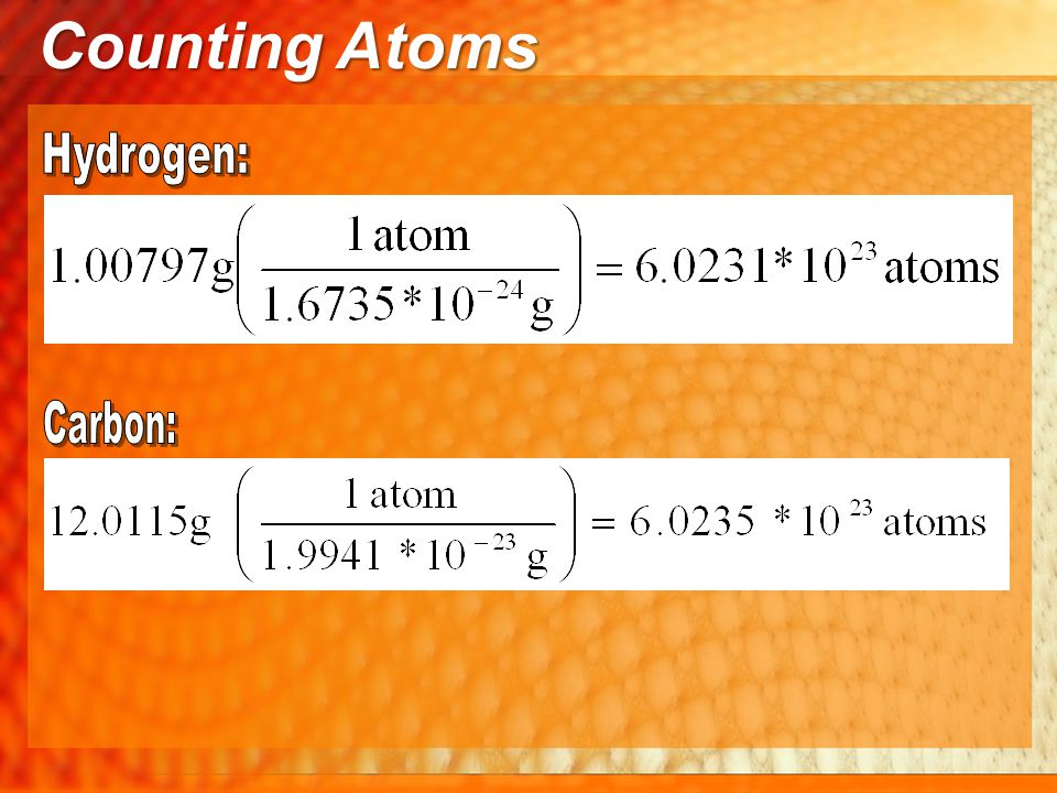 Using the mole in calculations #3 Counting Atoms How many atoms of Carbon are in 2.12 mols of Propane (C 3 H 8 ).