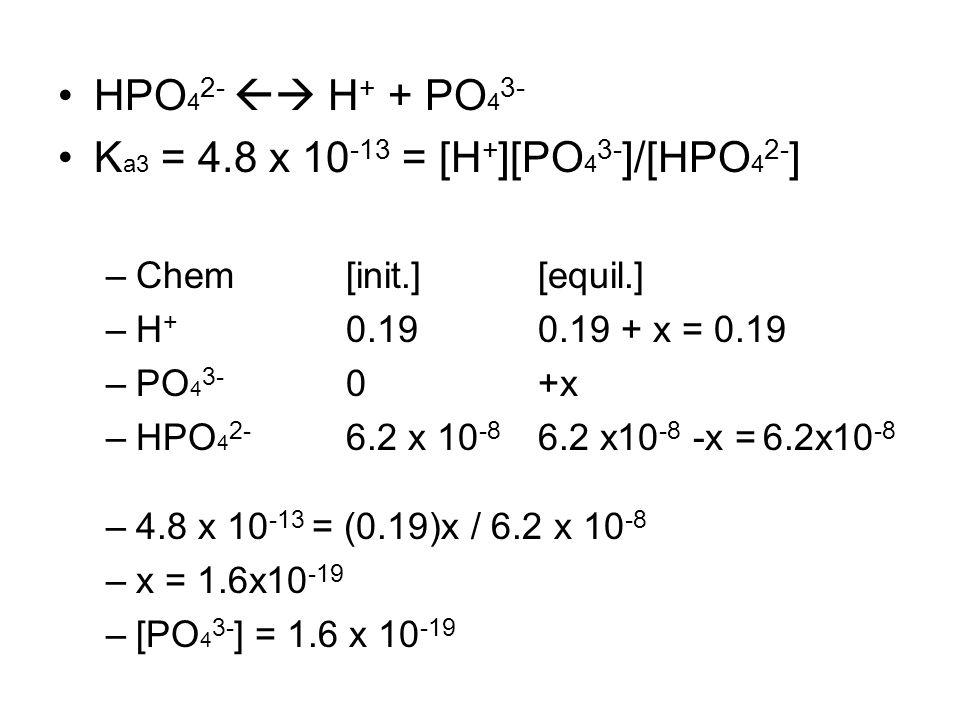 HPO 4 2-  H + + PO 4 3- K a3 = 4.8 x 10 -13 = [H + ][PO 4 3- ]/[HPO 4 2- ] –Chem [init.] [equil.] –H + 0.190.19 + x = 0.19 –PO 4 3- 0+x –HPO 4 2- 6.2 x 10 -8 6.2 x10 -8 -x = 6.2x10 -8 –4.8 x 10 -13 = (0.19)x / 6.2 x 10 -8 –x = 1.6x10 -19 –[PO 4 3- ] = 1.6 x 10 -19