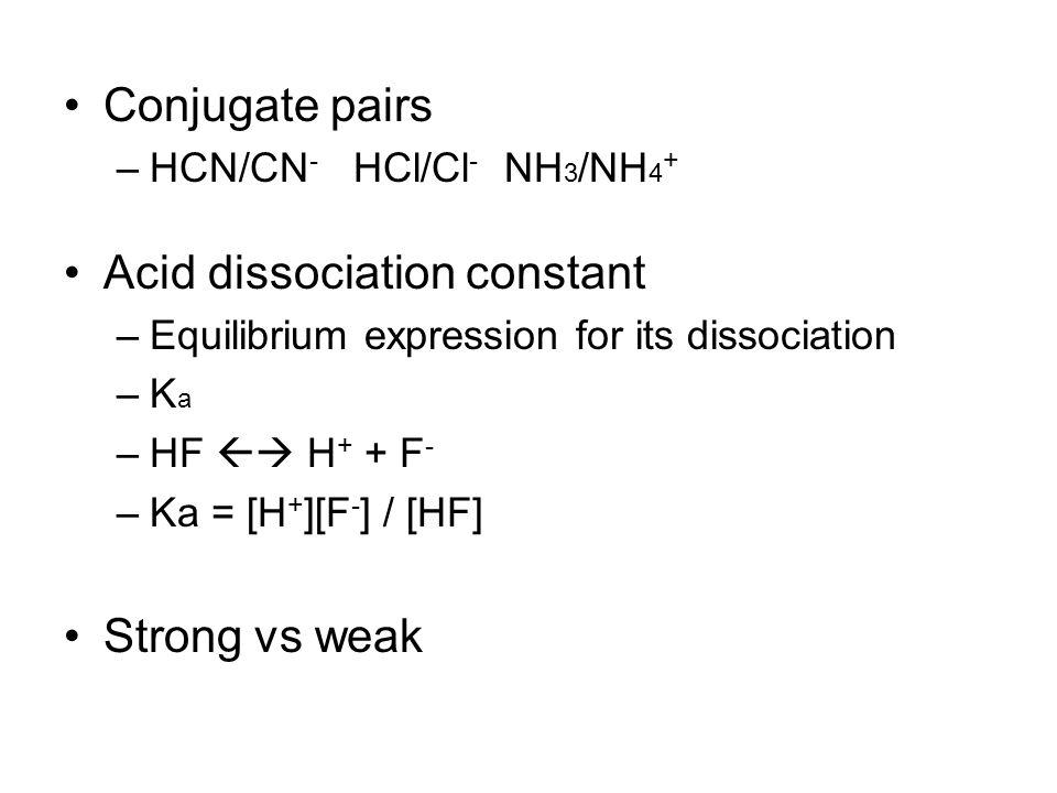 Conjugate pairs –HCN/CN - HCl/Cl - NH 3 /NH 4 + Acid dissociation constant –Equilibrium expression for its dissociation –K a –HF  H + + F - –Ka = [H + ][F - ] / [HF] Strong vs weak