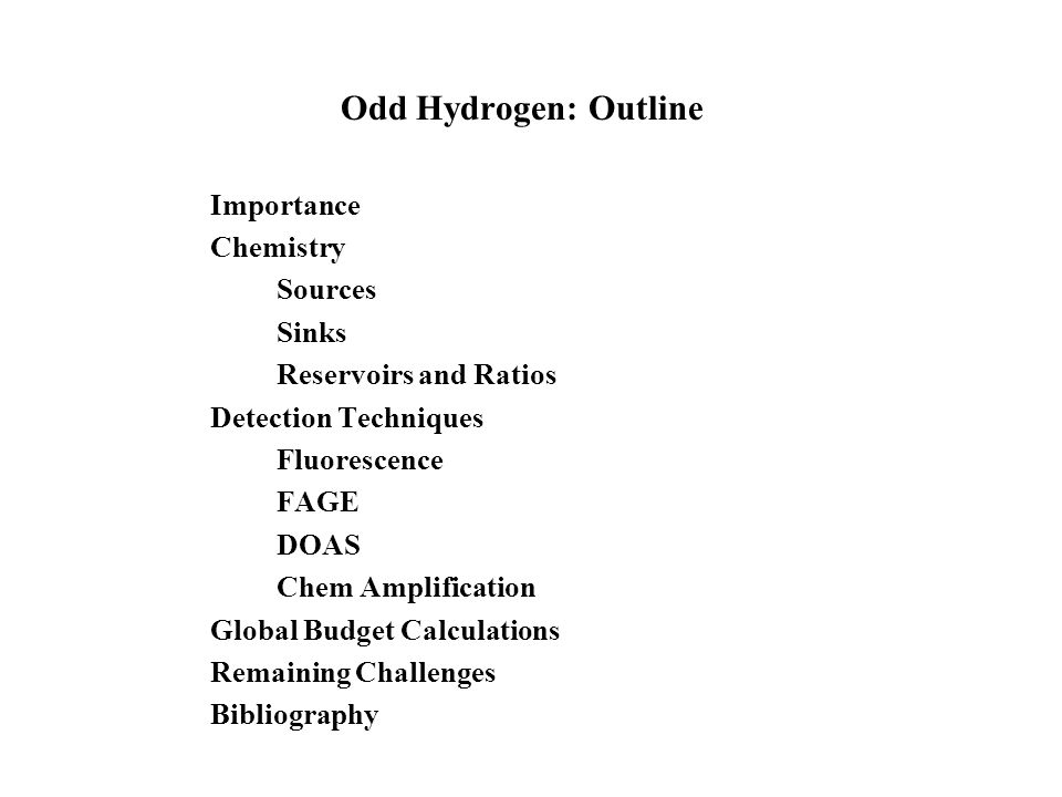 Odd Hydrogen: Outline Importance Chemistry Sources Sinks Reservoirs and Ratios Detection Techniques Fluorescence FAGE DOAS Chem Amplification Global Budget Calculations Remaining Challenges Bibliography