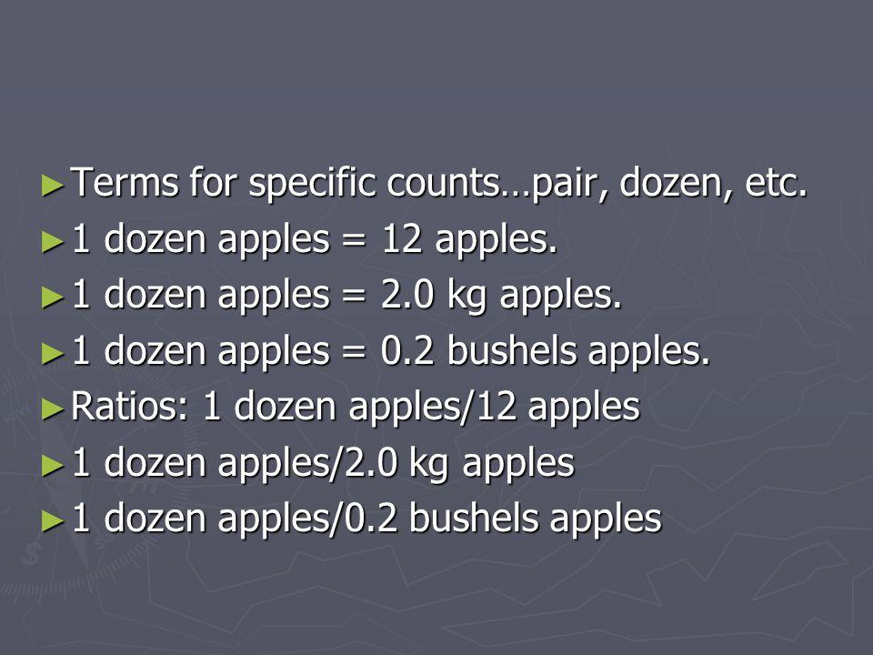 ► Terms for specific counts…pair, dozen, etc. ► 1 dozen apples = 12 apples. ► 1 dozen apples = 2.0 kg apples. ► 1 dozen apples = 0.2 bushels apples. ►