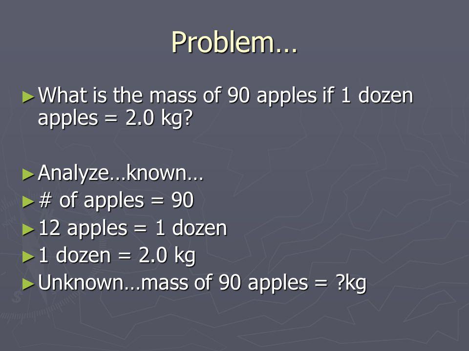 Problem… ► What is the mass of 90 apples if 1 dozen apples = 2.0 kg? ► Analyze…known… ► # of apples = 90 ► 12 apples = 1 dozen ► 1 dozen = 2.0 kg ► Un