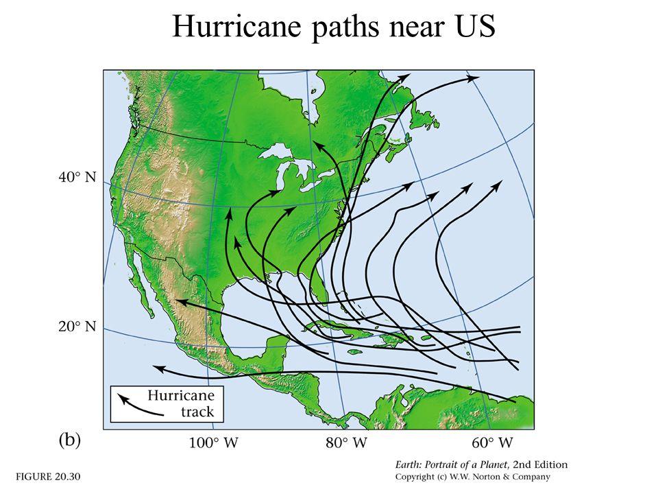 Hurricane paths near US