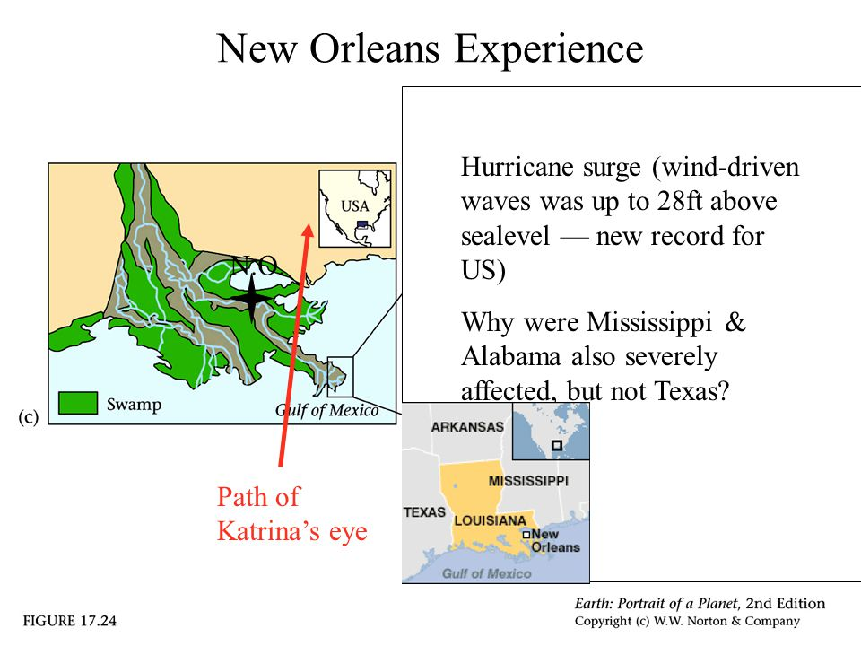 New Orleans Experience Hurricane surge (wind-driven waves was up to 28ft above sealevel — new record for US) Why were Mississippi & Alabama also severely affected, but not Texas.