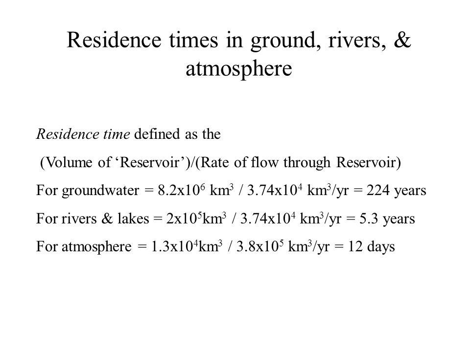 Biggest Rivers (11,205km 3 /yr; 31% of runoff) RiverDrainage Area (km 2 ) Discharge (km 3 /yr) Amazon5.78x10 6 5510 (half) Congo4.01x10 6 1250 Yangtze1.94x10 6 687 Brahmaputra9.35x10 5 624 Ganges1.06x10 6 589 Yenisei2.59x10 6 554 Mississippi3.22x10 6 551 Orinoco8.80x10 5 541 Lena2.42x10 6 494 Parana2.30x10 6 475