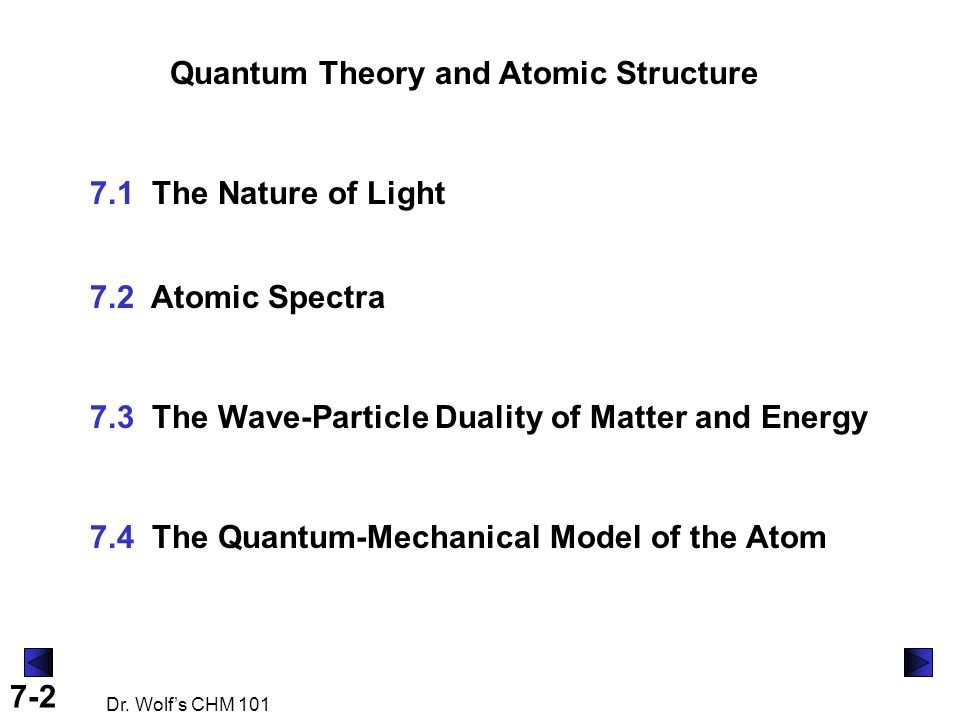 7-2 Dr. Wolf's CHM 101 Quantum Theory and Atomic Structure 7.1 The Nature of Light 7.2 Atomic Spectra 7.3 The Wave-Particle Duality of Matter and Ener