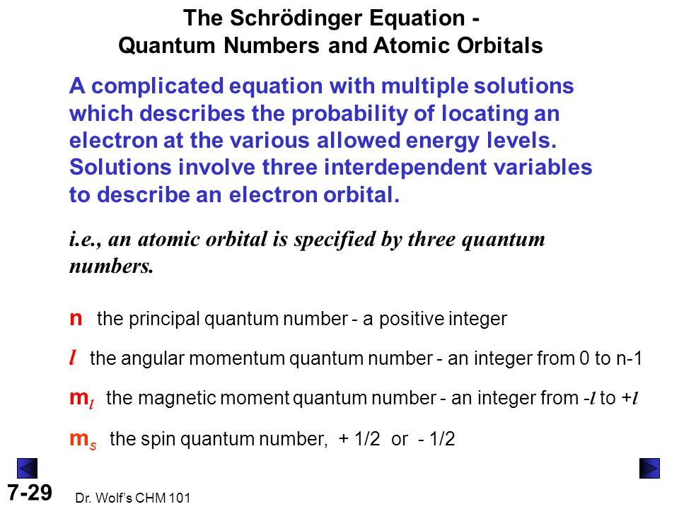 7-29 Dr. Wolf's CHM 101 The Schrödinger Equation - Quantum Numbers and Atomic Orbitals i.e., an atomic orbital is specified by three quantum numbers.