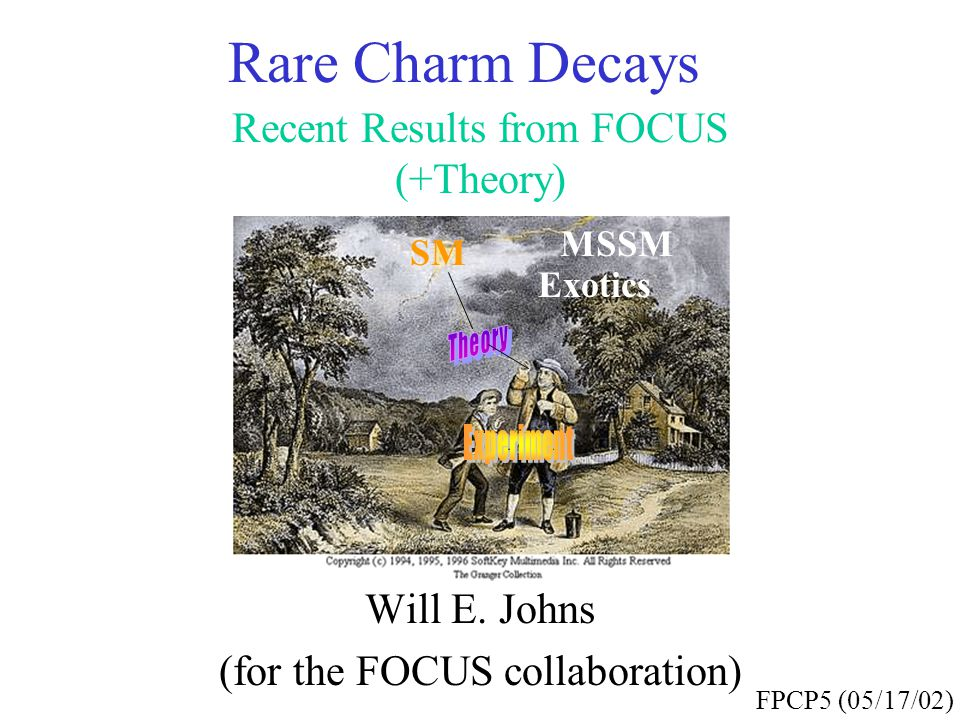 Rare Charm Decays Recent Results from FOCUS (+Theory) Will E. Johns (for the FOCUS collaboration) FPCP5 (05/17/02) SM MSSM Exotics